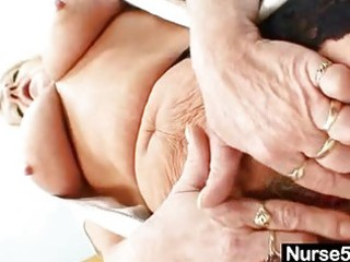 grandma in uniform spreads blonde unshaved twat
