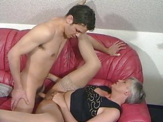 grey haired granny in stockings bonks the guy
