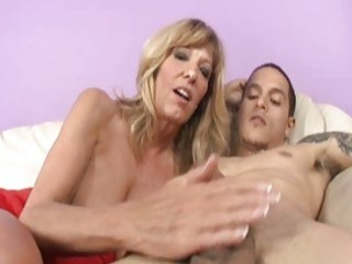 gracious older blonde plays with stiff young knob