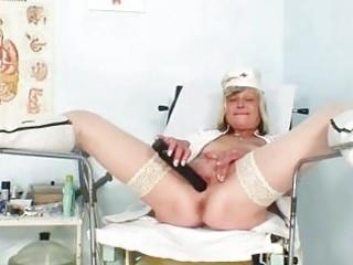 immodest nurse milf nada bonks herself with big