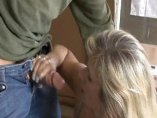 busty blond milf bows over to receive screwed and
