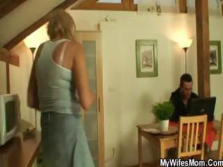 excited blond granny sucks and copulates her