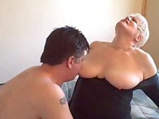 sexy golden-haired curvy amateur granny banging