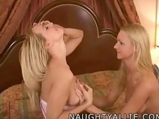 allie julie fuck a double headed dildo lesbian