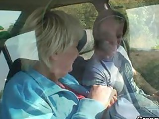 car driver bangs old slut