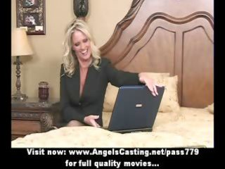 bored blond mother i with laptop undressing and
