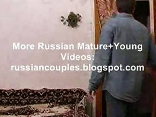 skinny russian older lady fucking with a chap