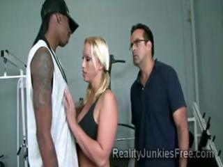 Horny blonde milf teases a big black stud in
