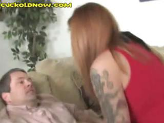 Cuckold watches as his wife takes on three big