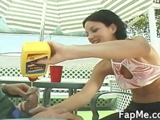 cute beauty giving an outstanding tugjob