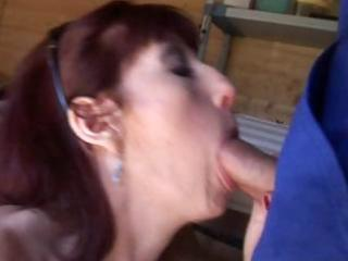hot french mature redhead eats and then gets her