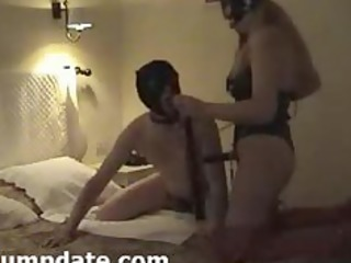 wife wearing strapon and her hubby sucks it is