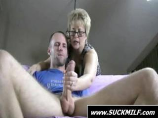 Dude gets caught by blonde milf who finishes him