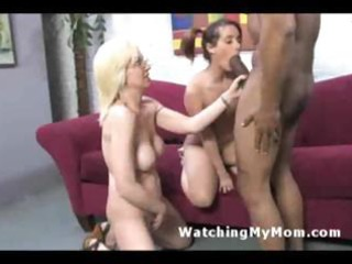 wicked mamma and young daughter share dark cock
