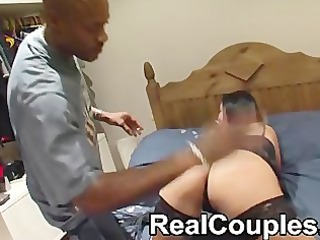 dark dude sensi spanks then licks a smaller white