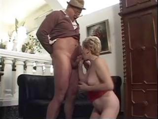 old golden-haired granny gets fingered and blows