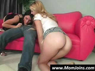 golden-haired teen and sexy brunette hair mamma