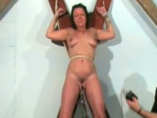 Shaz tied and electro torture of mature slave