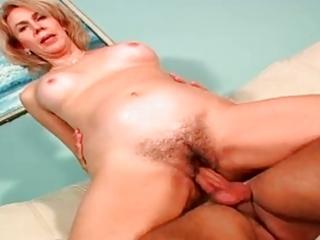 bushy mature enjoys anal by troc