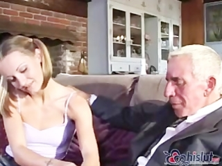 Old man fuck both mom and daughter