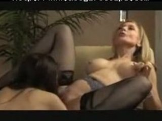 well matured lesbo gives youthful babe a good