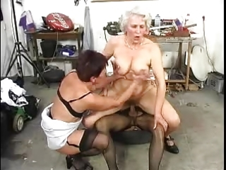 two hirsute old grannys have fun with a cock