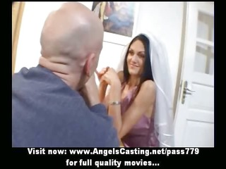 astonishing dark brown bride doing blowjob