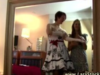 Mature stocking lesbian foreplay