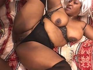 black obese aged wench enjoys