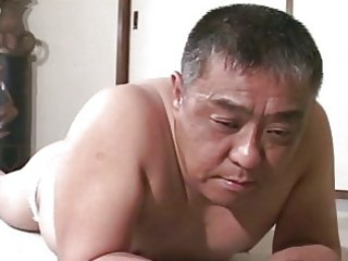 aged oriental guy receives flogging