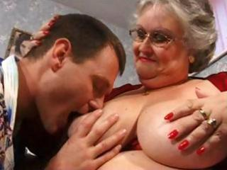 Fat grandma in red with big boobs gets drilled
