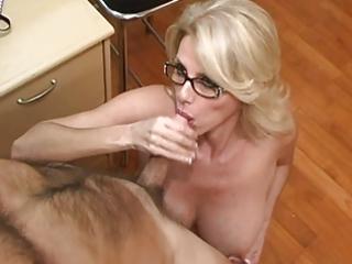 older secretary acquires cum on her big tits