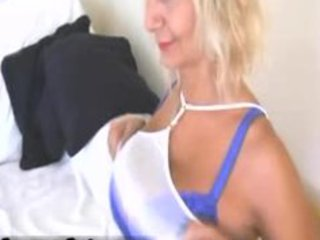 sexy blond mother i with large titties stripping