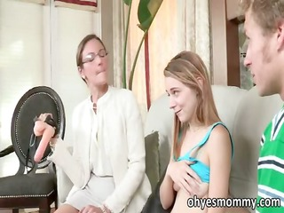 Very hot slim stepmom teacher her stepdaughter