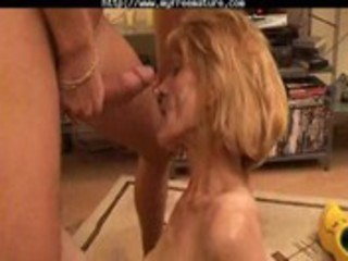 Slender mature gets her hairy pussy boned by